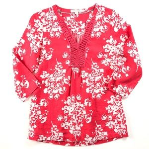 Boden Linen Floral Top, 4, Like New!
